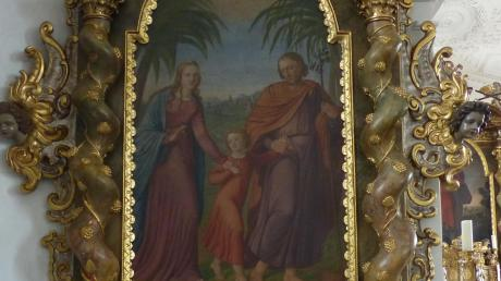 """Das Bild des linken Seitenaltars in der St. Andreaskirche in Hainsfarth ist das einzige bekannte Werk von Joseph Wintergerst in unserer Gegend und zeigt die """"Hl. Familie auf der Flucht"""" vor den Schergen des Königs Herodes."""
