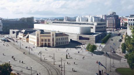 So soll das neue Nationalmuseum in Oslo aussehen (rechtes hinteres Gebäude, links neben der Baumreihe), das die Architekten Jan Kleinhues und Klaus Schuwerk entworfen haben. Den Naturstein Estremoz für die Außenfassade bearbeitet die Wallersteiner Firma Seeberger.