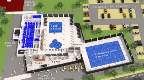 Eine erste Idee aus dem Nördlinger Hochbauamt, wie das erweiterte, generalsanierte Hallenbad an der Gerhart-Hauptmann-Straße in Nördlingen aussehen könnte, stellt dieser Plan dar. Mittlerweile hat die Stadt einen Projektsteuerer beauftragt, der sich bei der Bürgerversammlung im Klösterle vorstellte.