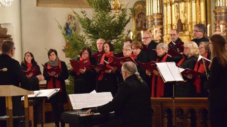 Das Ensemble Intermezzo hat in der Wallersteiner Pfarrkirche St. Alban ein Konzert gegeben. Im Vordergrund (von links) Dirigent Peter Müller, Peter Eisenbarth (Piano) und Rebecca Ernst (Flöte).