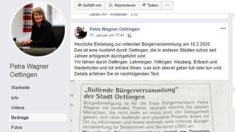"""Am 17. Januar warb Bürgermeisterin Petra Wagner für die rollende Bürgerversammlung bei Facebook. Später verwendete die Stadt nur noch den Titel """"Unterwegs mit der Bürgermeisterin""""."""