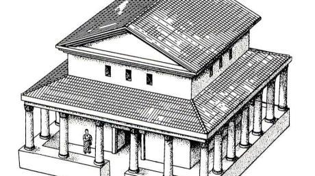 Der Tempel Munningen, wie er sich nach Ausgrabungen beim Bau der Westumgehung darstellte. Die Rekonstruktion eines gallo-römischen Umgangstempels erfolgte durch die Universität Freiburg.