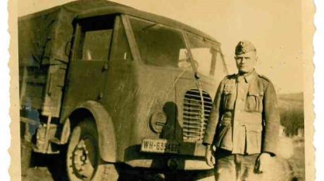 Karl Burger im Jahr 1943 als Lkw-Spritfahrer.