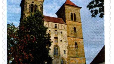 Die Klosterkirche Auhausen als Briefmarke.