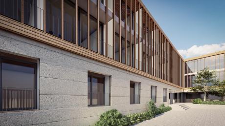Perspektive von der Schäfflergasse mit Blick auf den Osteingang des neuen Hotelbaus, im Erdgeschoss sind zwei Seminarräume vorgesehen.