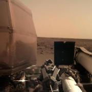 Die Nasa-Sonde «InSight» nach der Landung auf dem Mars.Foto: NASA/AP