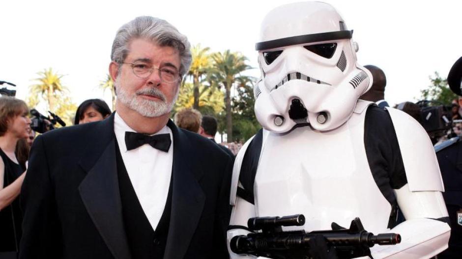 Der Erfinder von Star Wars George Lucas auf dem roten Teppich in Cannes.