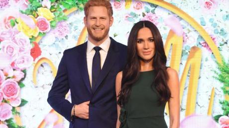 Noch friedlich vereint:Die Wachsfiguren von Prinz Harry und Herzogin Meghan. Foto: Victoria Jones/PA Wire