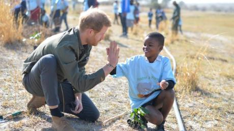 Prinz Harry hilft Schülern, Bäume im Chobe-Nationalpark in Botsuana zu pflanzen. Foto:Dominic Lipinski/PA Wire