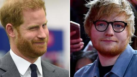 Prinz Harry (l), und Ed Sheeran haben einen Videoclip gedreht. Foto: Stuart C. Wilson/Jens Kalaene/PA Wire/ZB/dpa