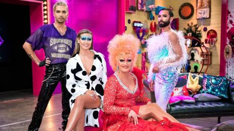 "Tom Neuwirth alias Conchita Wurst (rechts) wird zusammen mit (von links) Bill Kaulitz, Heidi Klum und Gast-Star Olivia Jones in der Jury der neuen Show ""Queen of Drags"" sitzen."