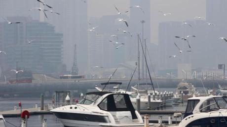 In Melbourne an der Südostküste Australiens ist die Luftqualität rekordverdächtig schlecht.