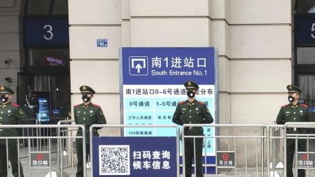 Gesperrter Bahnhof in Wuhan: Die chinesische Millionenmetropole steht praktisch unter Quarantäne.