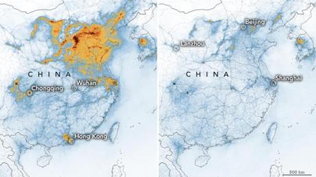 Die Karten zeigen die Konzentrationen von Stickstoffdioxid (NO2) in ganz China vom 1. bis 20. Januar 2020 (vor der Quarantäne wegen des Coronavirus) und vom 10. bis 25. Februar (während der Quarantäne).