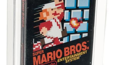Die Vorderseite des original verpackten «Super Mario Bros.»-Computerspiels aus dem Jahr 1985.