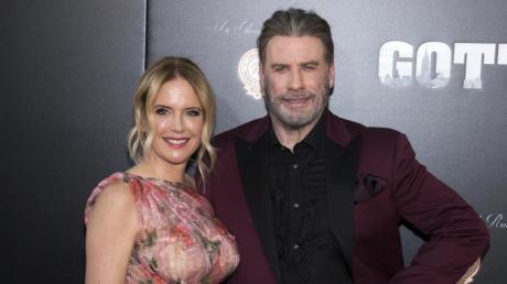 Kelly Preston mit ihrem Ehemann John Travolta, Schauspieler bei der Premiere des Films «Gotti» 2018 in New York.