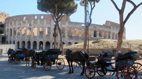 Kutschen warten vor dem Kolosseum auf Kunden.