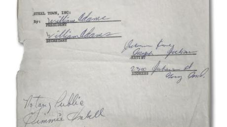 Der erste Plattenvertrag der Jackson Five, unterschrieben von Joe Jackson, dem Vater von Michael, aus dem Jahr 1968.