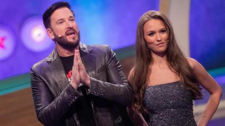 Laura Müller und Michael Wendler vor der Live-Show «Pocher vs. Wendler - Schluss mit lustig!» bei RTL.