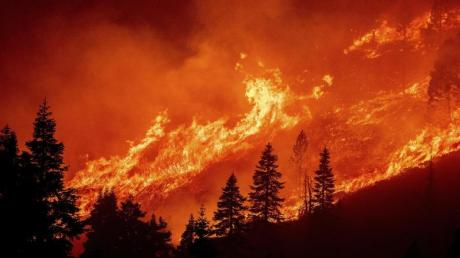 Die Flammen des Caldor-Feuers wüten an einem Hang über dem Christmas Valley.
