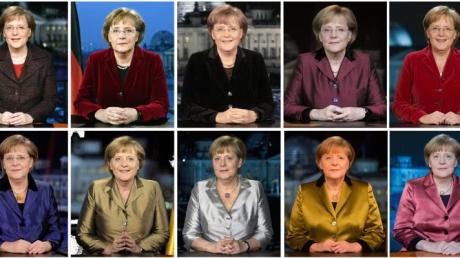 Merkel bei ihren 10 Neujahrsansprachen in den Jahren 2005 - 2014.