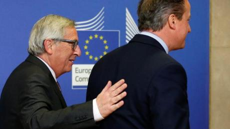 Der britische Premierminister David Cameron und EU-Kommissionschef Jean-Claude Juncker vor denGesprächen über eine Reform der EU.