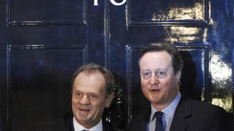 Premier Cameron und Donald Tusk: Europas Spitzen wollen einen «Brexit» verhindern.