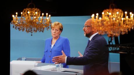 Festliche Beleuchtung im Übertragungsraum der Fernsehstudios Berlin-Adlershof: Nach der Debatte gegenMartin Schulz jedoch lag Angela Merkel in den Umfragen vorne.