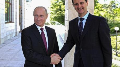 Wladimir Putin begrüßt Baschar al-Assad, Präsident von Syrien in Sotschi.