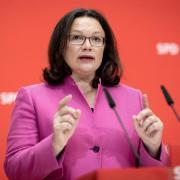 SPD-Parteichefin Andrea Nahles ist für die Abberufung von Verfassungsschutzpräsident Maaßen. Foto: Kay Nietfeld