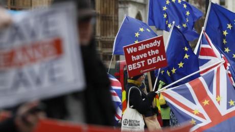 Pro- und Anti-Brexit-Demonstranten vor dem Parlament in London: Großbritannien will die EU am 29. März 2019 verlassen.