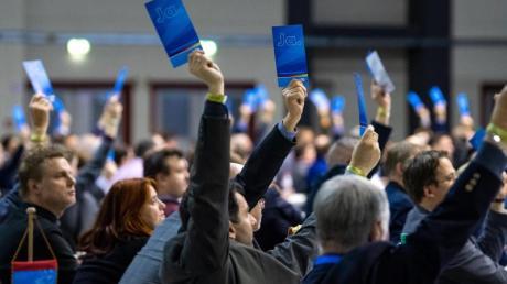 Delegierte halten bei der Europawahlversammlung der AfD in Riesa Stimmzettel hoch.