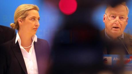 Alexander Gauland und Alice Weidel, Fraktionsvorsitzende derAfD, geben bei der Fraktionssitzung ihrer Partei ein Statement ab.