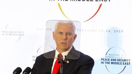 «Wenn ihr uns (...) zur Seite steht, dann stehen wir auch zu euch»: US-Vizepräsident Mike Pence spricht in Warschau.