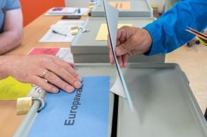 Europawahl in Sachsen: In Dresden wirft ein Wähler Stimmzettel in die Wahlurne. Foto: Robert Michael