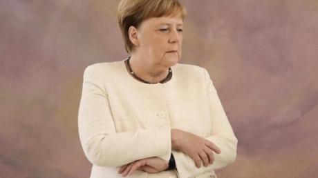 Bundeskanzlerin Angela Merkel am Donnerstag bei einer Veranstaltung imAmtssitz des Bundespräsidenten, Schloss Bellevue.
