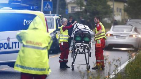 Bei Schüssen auf einem Moschee-Gelände ist am Samstag nahe Oslo ein Mensch verletzt worden. Die Ermittler gehen vonTerrorismus aus. Foto: Terje Pedersen