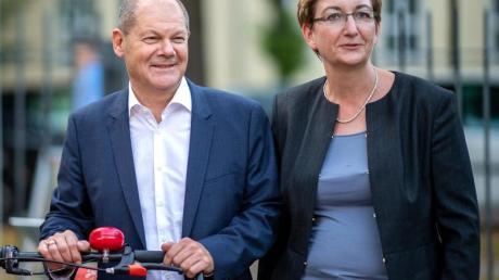Bundesfinanzminister Olaf Scholz (SPD) und Klara Geywitz, SPD-Landtagsabgeordnete in Brandenburg. Foto: Monika Skolimowska