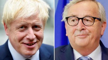 Der britische Premierminister Boris Johnson (l.) und EU-Kommissionspräsident Jean-Claude Juncker treffen sich am Montag zu einem Arbeitsessen.