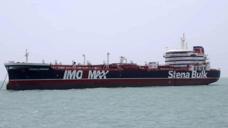 Der britische Öltanker «Stena Impero» liegt im Hafen von Bandar Abbas im Iran. Foto: Tasnim News Agency