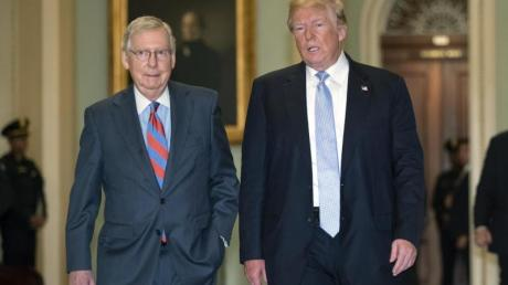 Der republikanische Mehrheitsführer im US-Senat, Mitch McConnell (l), und Präsident Donald Trump im Weißen Haus in Washington.