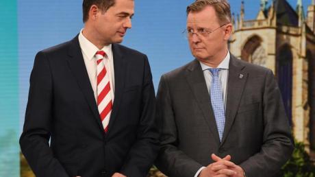 Wenn es nach den Thüringern geht, sollten CDU-Landeschef Mike Mohring (l.) und Thüringens Ministerpräsident Bodo Ramelow (Linke) zusammenarbeiten.