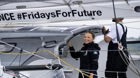 Greta Thunberg reiste im August per Hochsee-Segeljacht über den Atlantik. Foto: Craig Ruttle/AP/dpa