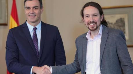 Pedro Sánchez (l), amtierender Ministerpräsident von Spanien, und Pablo Iglesias, Chef des Linksbündnisses Unidas Podemos. Foto: Jesús Hellín/Europa Press/dpa