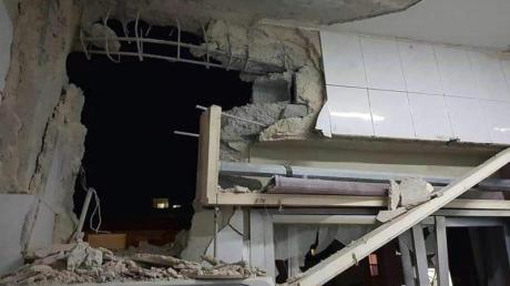 Durch israelische Raketenangriffe beschädigtes Gebäude bei Damaskus.