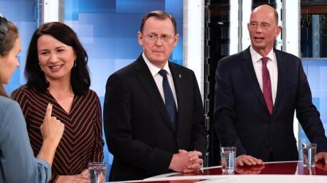 Anja Siegesmund von denGrünen, Ministerpräsident Bodo Ramelow (Die Linke) und Wolfgang Tiefensee von der SPD bei einer TV-Debatte vor der Wahl im Oktober.