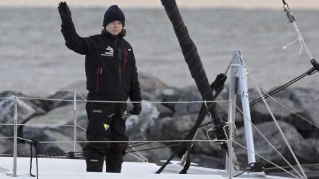 Greta Thunberg an Bord des Katamarans «La Vagabonde».