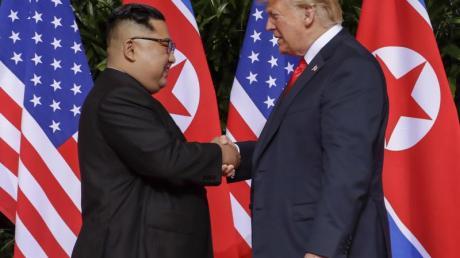 Spektakuläres Treffen - bislang ohne echte Abrüstungsfortschritte:Kim Jong Un und US-Präsident Donald Trump im Juni 2018.