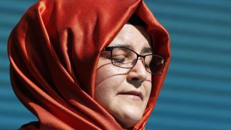 Hatice Cengiz, Verlobte des getöteten saudischen Journalisten Jamal Kashoggi, während einer Gedenkfeier.