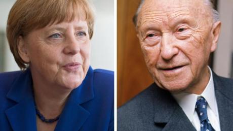 Kanzlerin Angela Merkel ist genauso lange im Amt wie einst Konrad Adenauer (r).